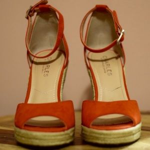 Orange/ Aztec high heel with ankle strap